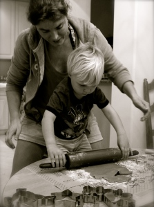 Baking can be a nice family thing to do together ... until the kids get the taste of the dough.