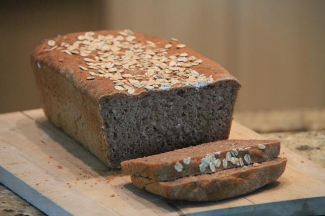Dark spelt, rye and walnut bread